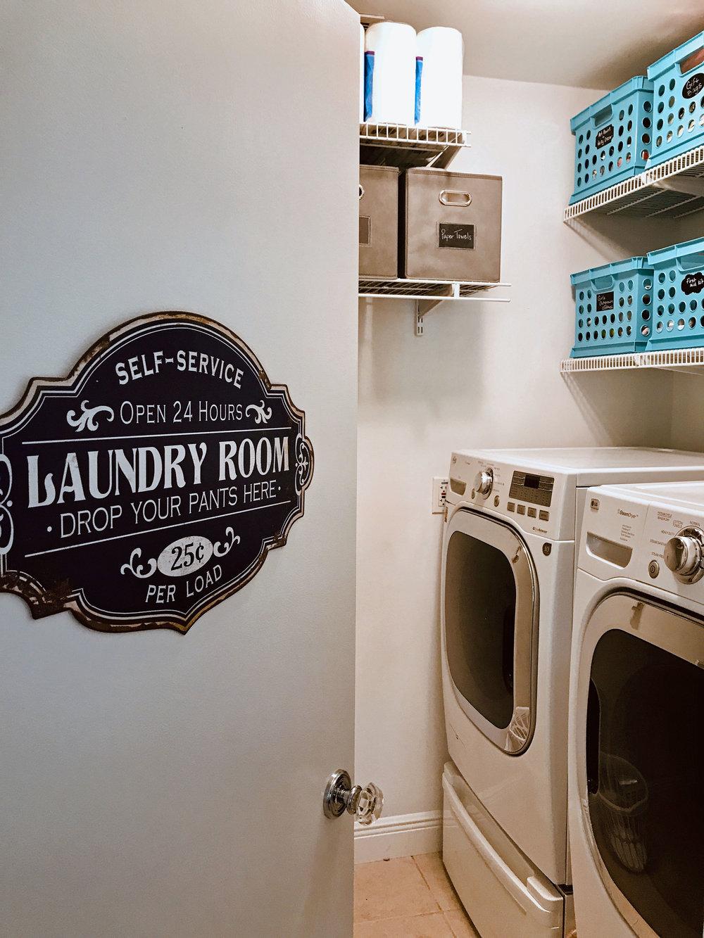Laundry room organizing