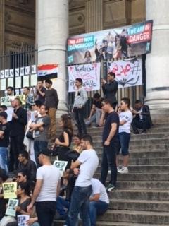 Peaceful protest in Brussels, Belgium.