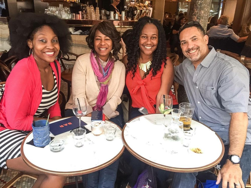 Me, Tanisha, Aunt Tahaya, and Uncle Rey! Nomadness Travel Tribe quick meet up in Paris. 14,000 members strong. Thanks, Evie.