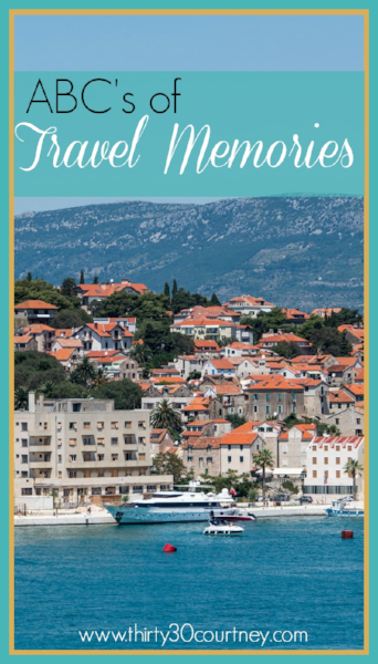 Want to take a quick trip down memory lane? Let's talk about your ABC's of travel memories.  It's a great way to recapture some of your most fun moments while traveling.