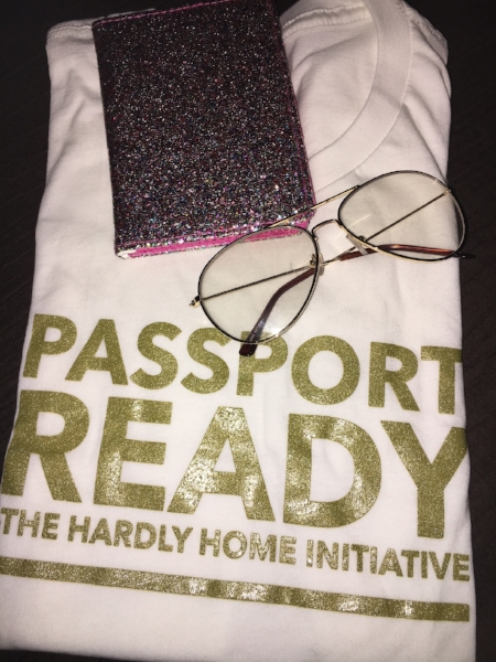 Preparing for my trip to country #17! This shirt goes towards proceeds for The Passport Program so definitely check out www.hardlyhome.com for more information.