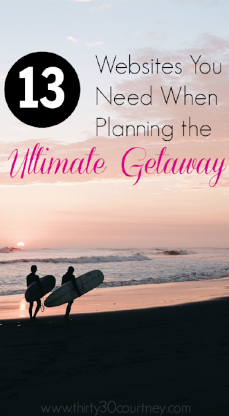 Holiday season is rapidly approaching, so it's time to plan a getaway! What are you favorite websites to use? Learn about 13 sites I use faithfully while planning a getaway.