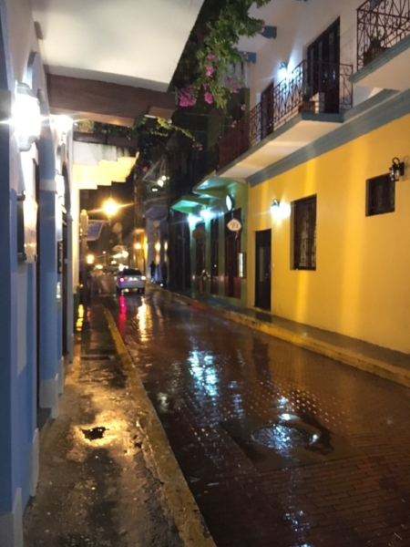 This was my first night in Casco Viejo when I was on a search for some FOOD! The rain had finally slowed down but you definitely needed an umbrella.