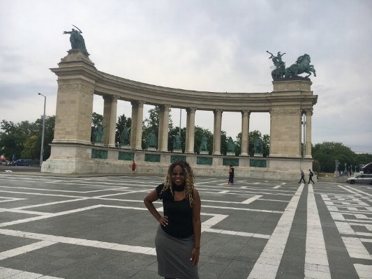 On my way to Széchenyi I walked on Budapest's famous Andrassy Avenue that ultimately lead up to Hero's Square, as seen in the photo.