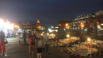The main square at night.