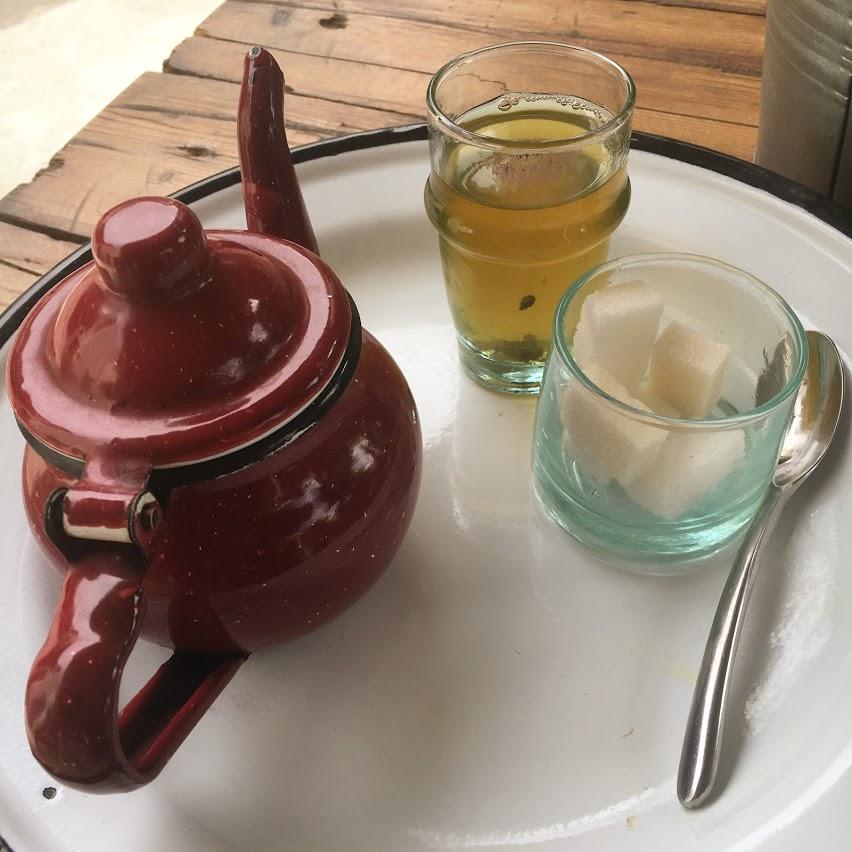 Enjoying some delicious mint tea.
