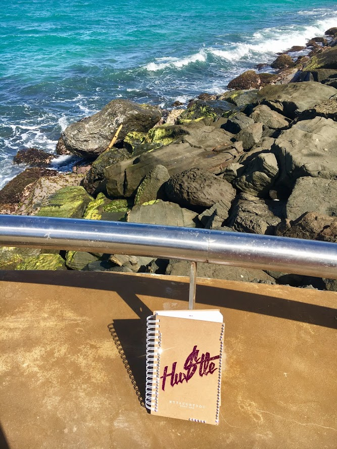 My notebook ALWAYS travels with me. I thought this was just a cute shot.