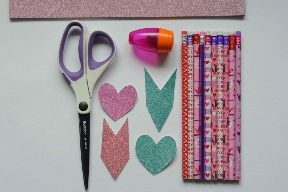Valentine's Day pencil arrow supplies