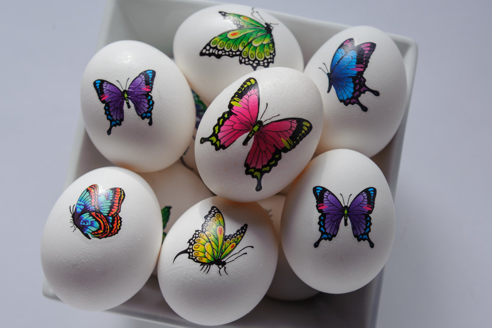 bowl of tattooed easter eggs