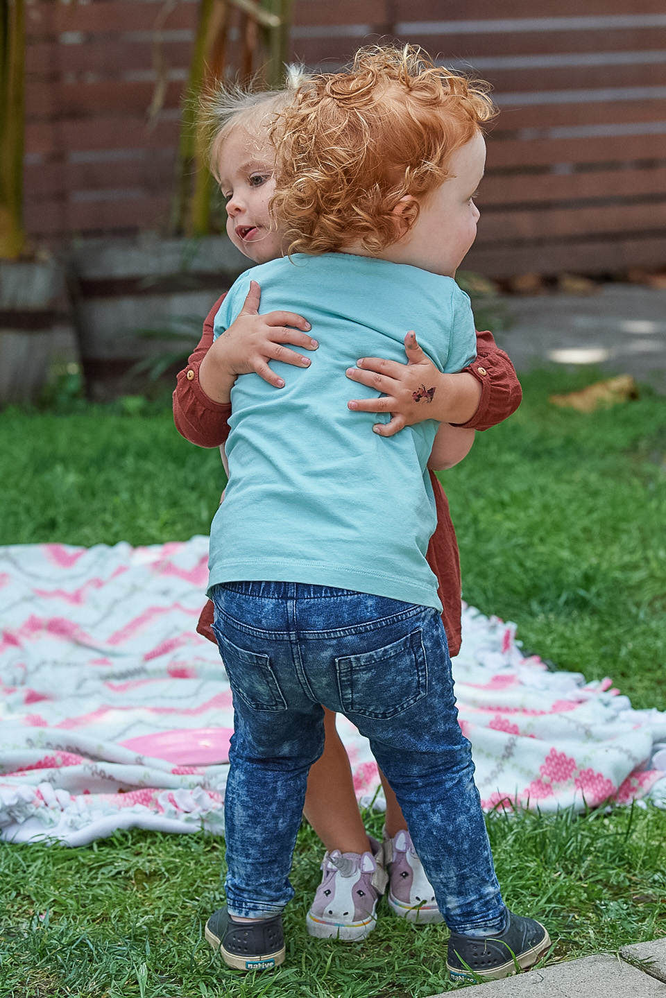 toddler easter party hug goodbye