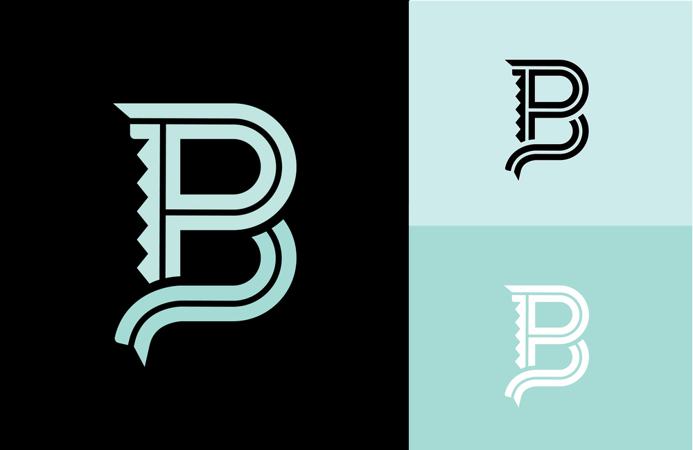 BP MONOGRAM LOGO: A simple, readable logo suited for icons and other various uses.