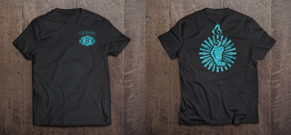 BLUE POBLANO SHIRTS: Mockup provided to the client for employee or merchandise design.