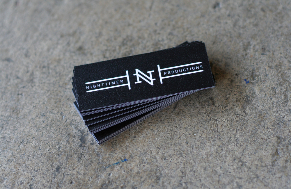 "NIGHTTIMER BUSINESS CARDS: Further use of the Nighttimer Productions logo ""N"" mark and rat mascot for simple, but elegant business cards."
