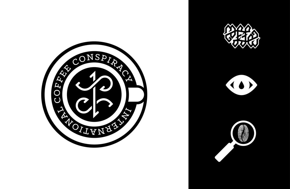 Branding assets for the [International] Coffee Conspiracy, including ambigram symbol.