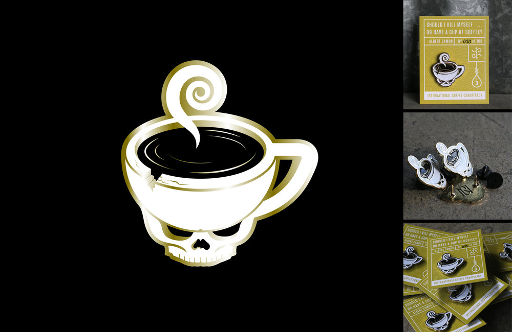 "Enamel pin design and production. ""Death or Coffee"" pin realized in three editions."