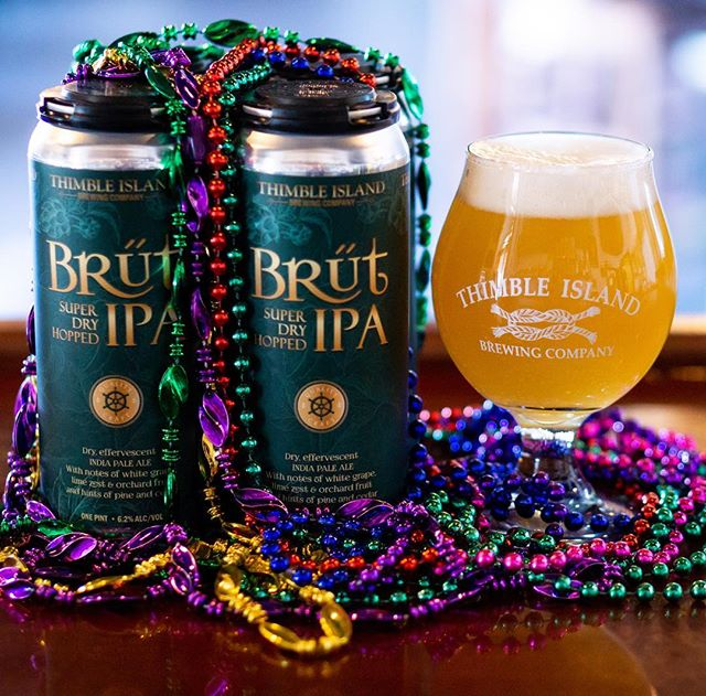 Super dry-hopped, light, bubbly and ready for Fat Tuesday! Open @ 3pm & Trivia w/ @bigboytrivia @ 7pm! 🎭