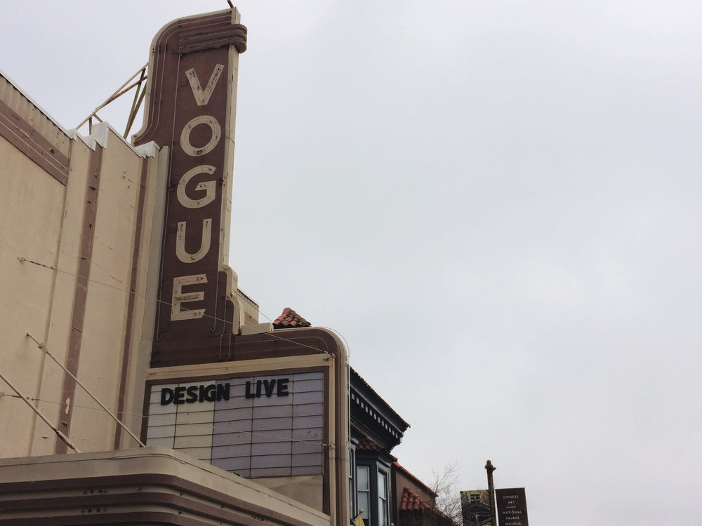 designLIVE marquee from the Vogue Theatre