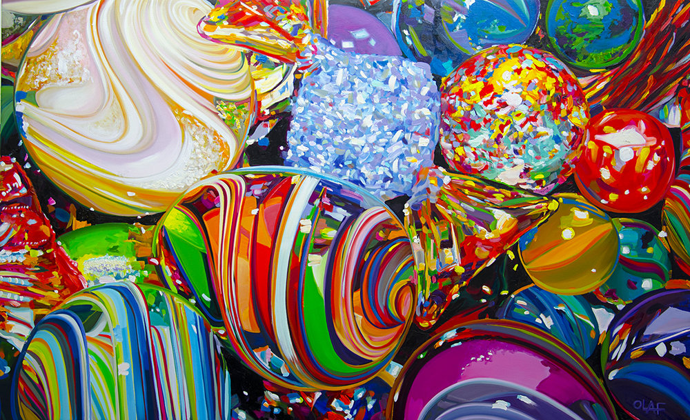 "Olaf Schnieder,  Alphabet Soup Sandwich , 30"" x 60"", oil on canvas, courtesy of Chloe Gallery"