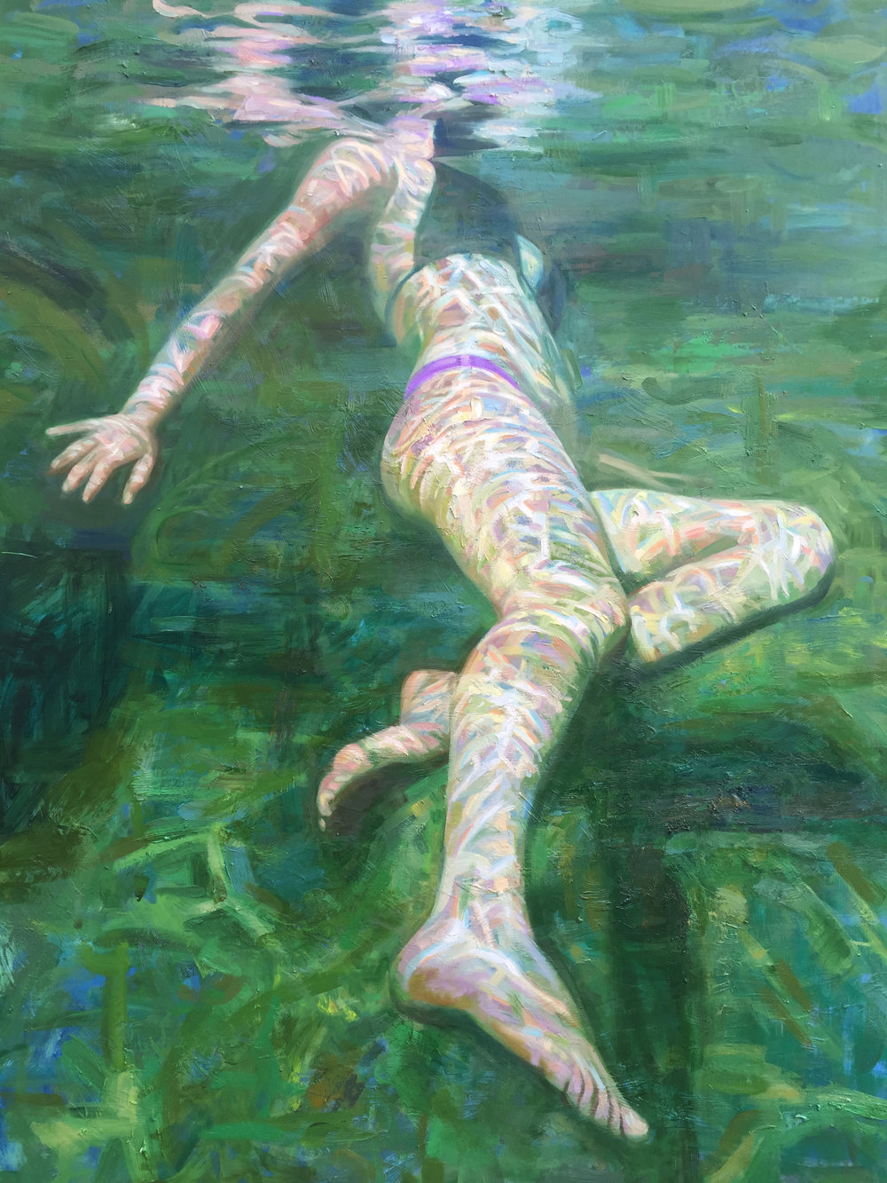 "Isabel Emrich,  Green Rocks,  48"" x 36"", oil on canvas, courtesy of Chloe Gallery"
