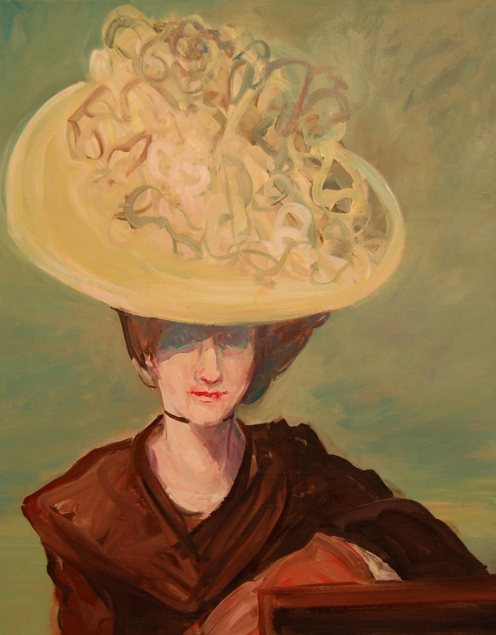 "Deborah Brown,   Yellow Bonnet II,   24""x18"", oil on Masonite, courtesy of ArtHaus"
