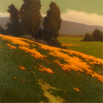 "Brian Blood,   Hillside Poppies,   48""x48"", oil on canvas, courtesy of ArtHaus"