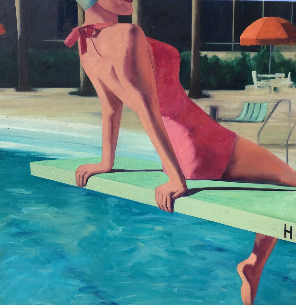 "T.S. Harris,  Hotel Swimming Pool , 60"" x 60"", oil on canvas, courtesy of Simon Breitbard Fine Arts"