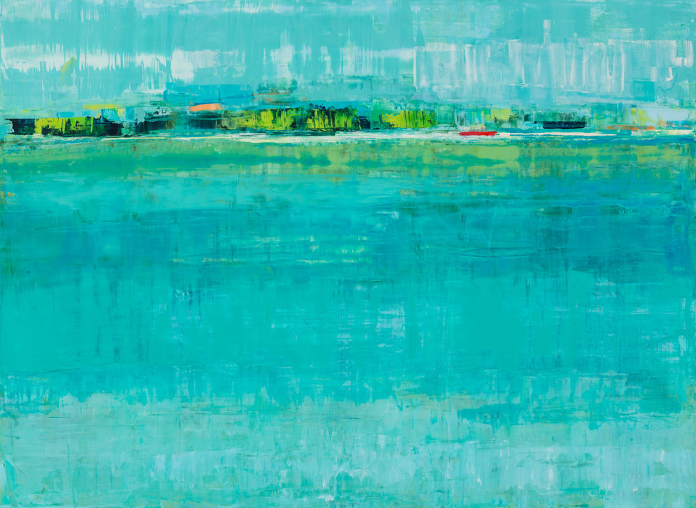 "Suzy Barnard,  Paradise , 44"" x 60"", oil on panel, courtesy of Simon Breitbard Fine Arts"