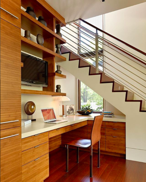 Sustainable bamboo cabinets were used for this tidy home office designed by The Wiseman Group. Photographer: Matthew Millman