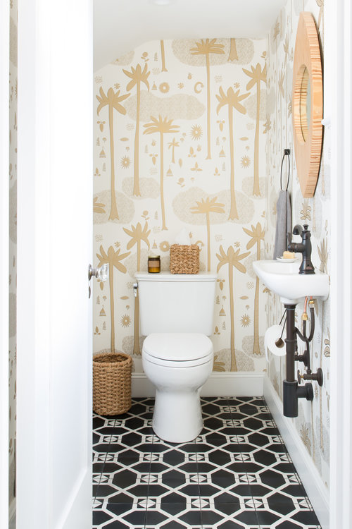 An eclectic bathroom designed by Regan Baker Design.