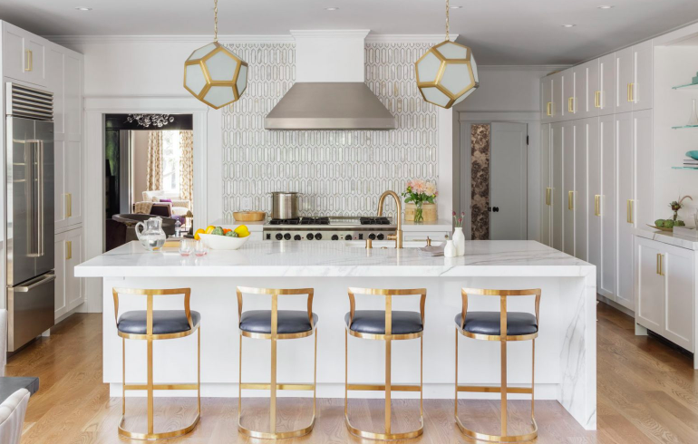 A modern glam kitchen designed by Melanie Coddington. Photographer: David Duncan Livingston