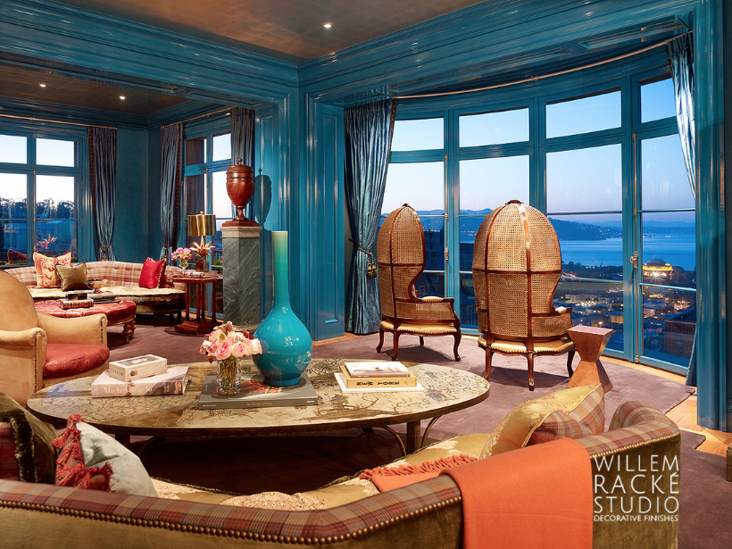 Willem Racké Studio  lacquered the walls turquoise in the Pacific Heights salon designed by  Ken Fulk.