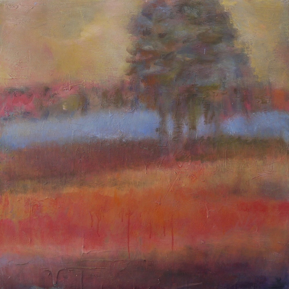 "landscape in red 24"" x 24"""
