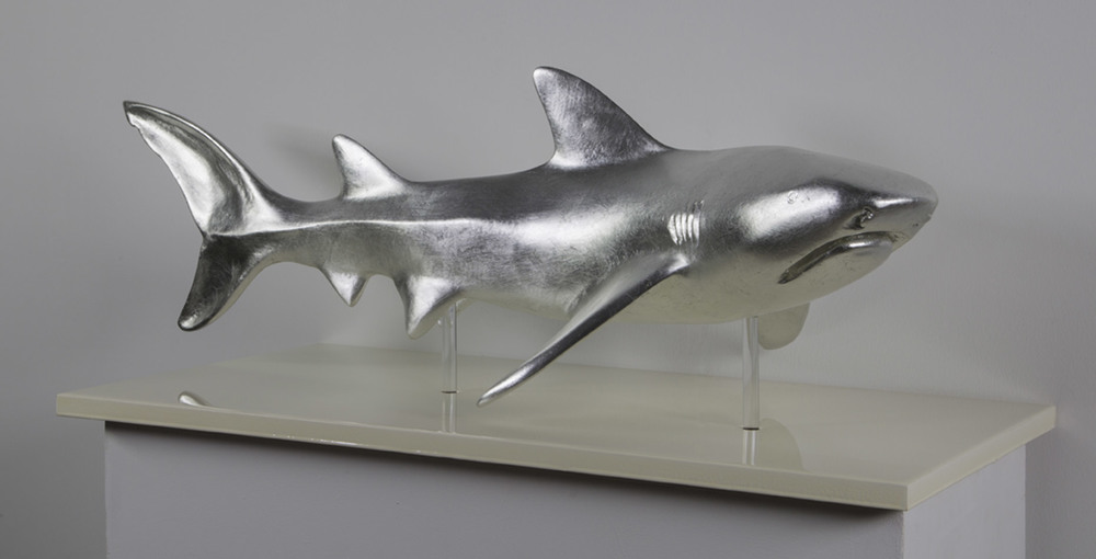""" Silver Shark ""     35"" L x 12"" W x15"" H       Fiber Glass, Silver leaf    Edition of8     # 15080"