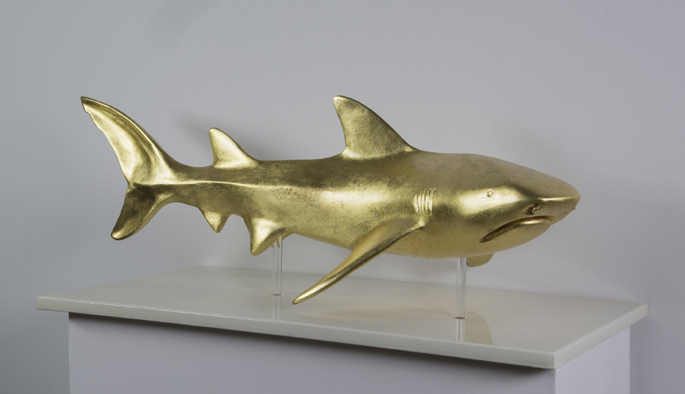 """ Gold Shark ""     35"" L x 12"" W x 15"" H       Fiber Glass, Silver leaf    Edition of8     # 15079"