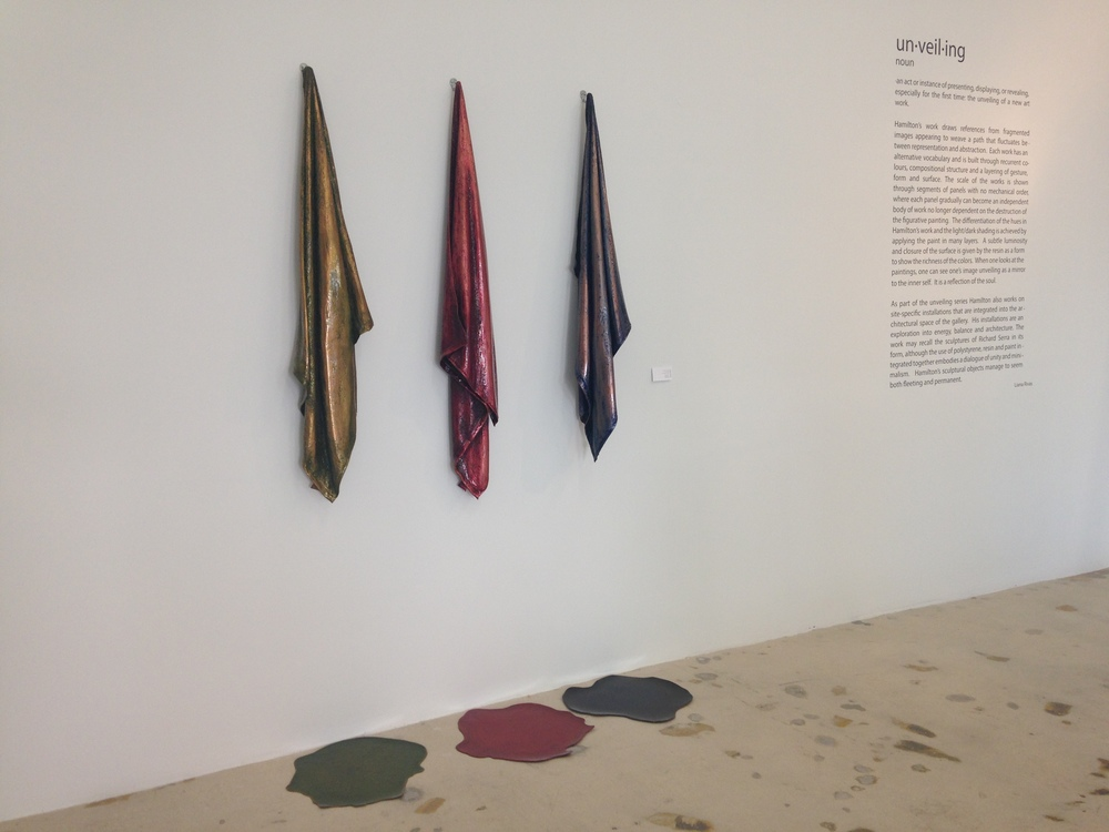 """ Towels "" cotton, oil over copper leaf, resin"