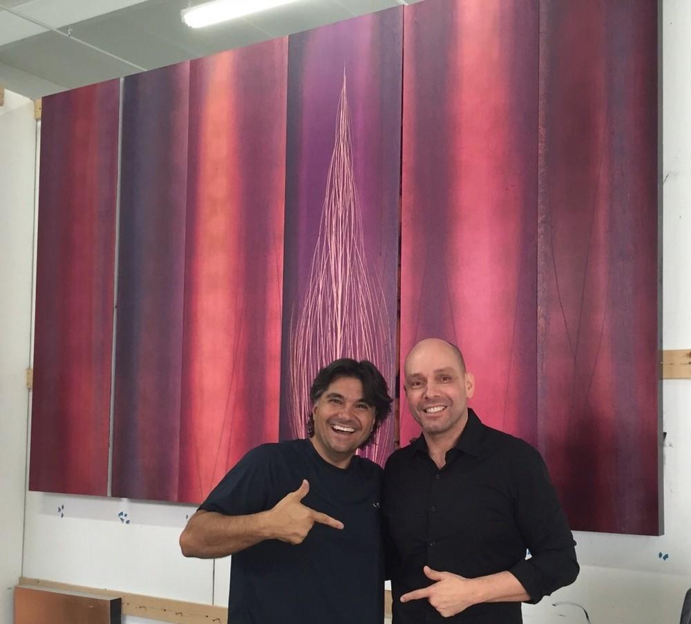 With my Brazilian friend artist/sculptor Leopoldo Martins at my Miami studio  2015