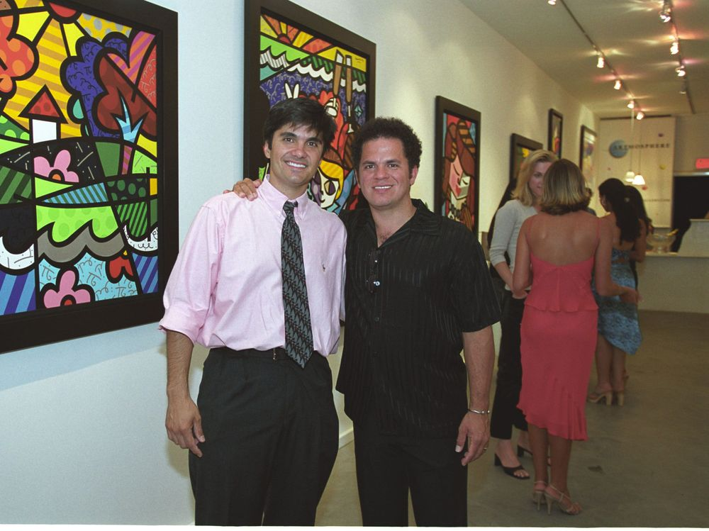 With artist Romero Britto, Artmosphere Gallery, Southampton, NY 2001