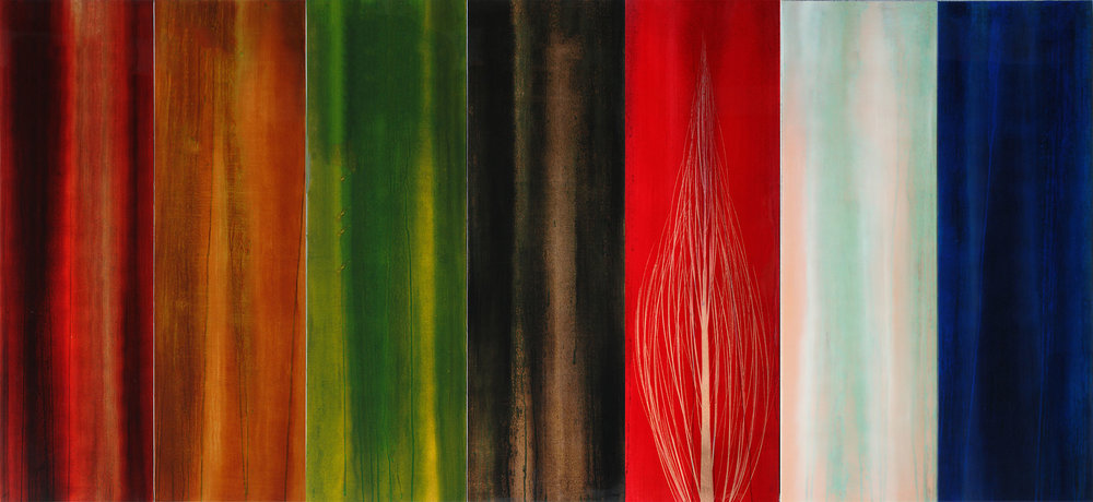 """#16032  """" Sete """" 48x105 inches, Oil over copper leaf with resin on seven panels  SOLD"""