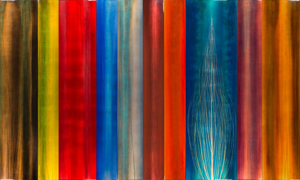 """#15046  """" Dez """" 72x119 inches, Oil over copper leaf with resin on ten panels SOLD"""