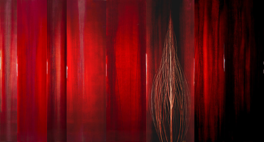 """#15016  """" Oito """" 72x100 inches, Oil over copper leaf with resin on eight panels  SOLD"""