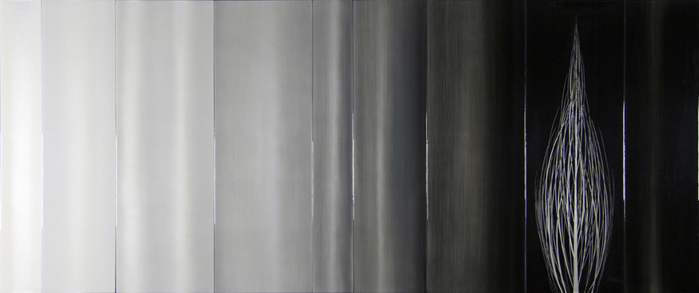 """#14036  """" Nove """" 36x85 inches, Oil over silver leaf with resin on nine panels"""