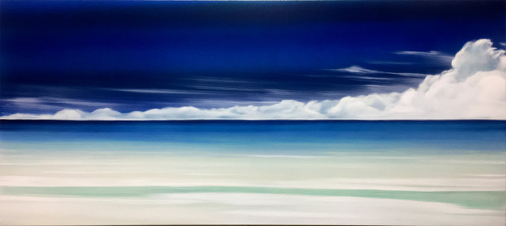 """#16191  """" Acqua """" 36 x 80 inches, Oil over silver leaf with resin on panel"""