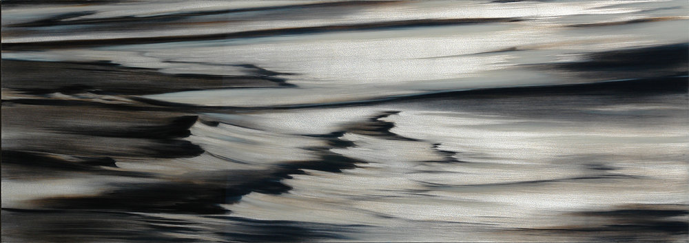 """#16192  """" Silver Reflections """" 30 x 80 inches, Oil over silver leaf with resin on panel  Available at  Silver Lining Fine Arts, Miami-FL"""