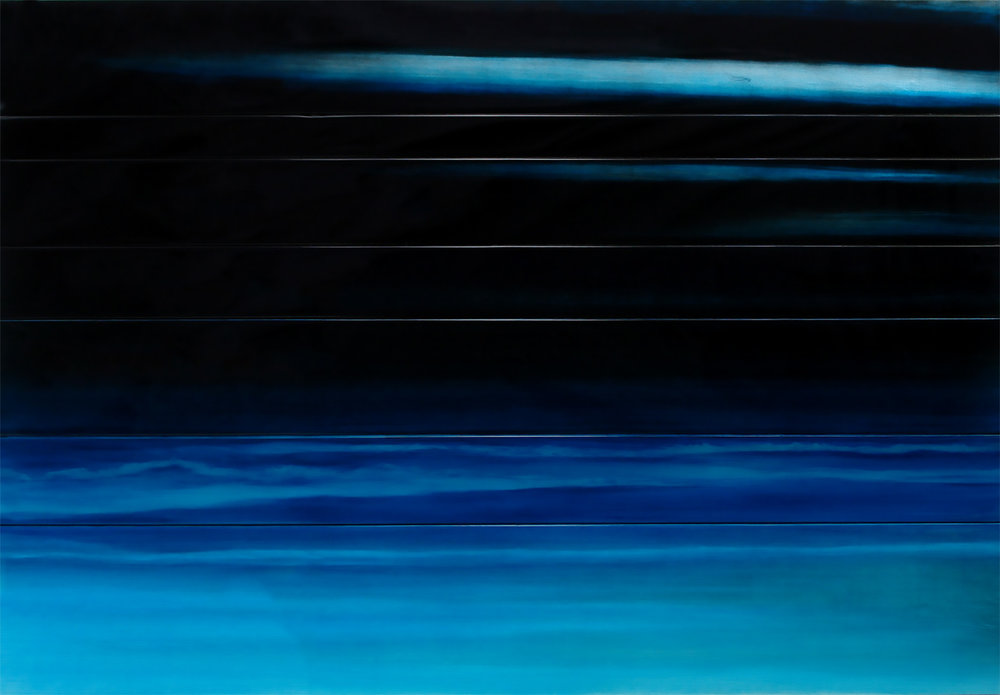 """#16040  """" At Night """" 48 x 72 inches, Oil over silver leaf with resin on panel"""