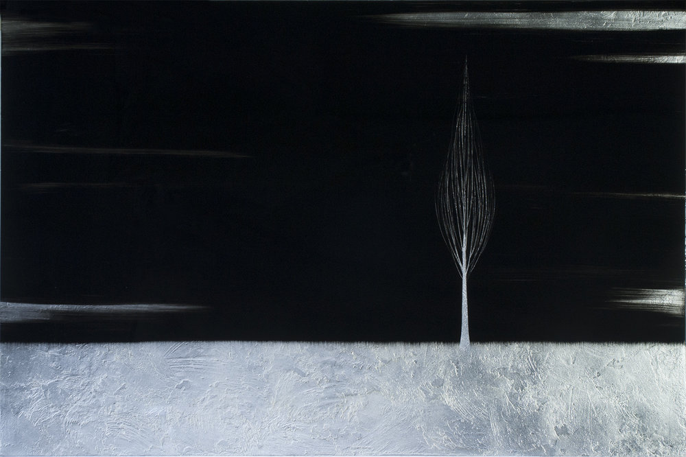 "#16160   "" Solitude ""   48 x 72 inches, Oil over silver leaf with resin on panel"