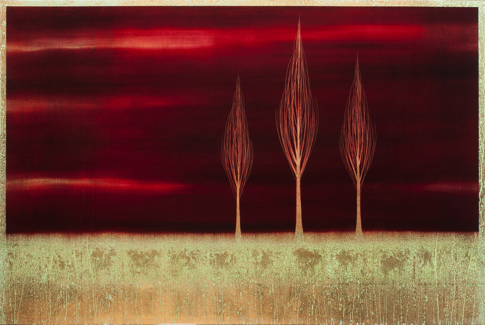 "#16144   "" Trio ""    48 x 72 inches, Oil over copper leaf with resin on panel"