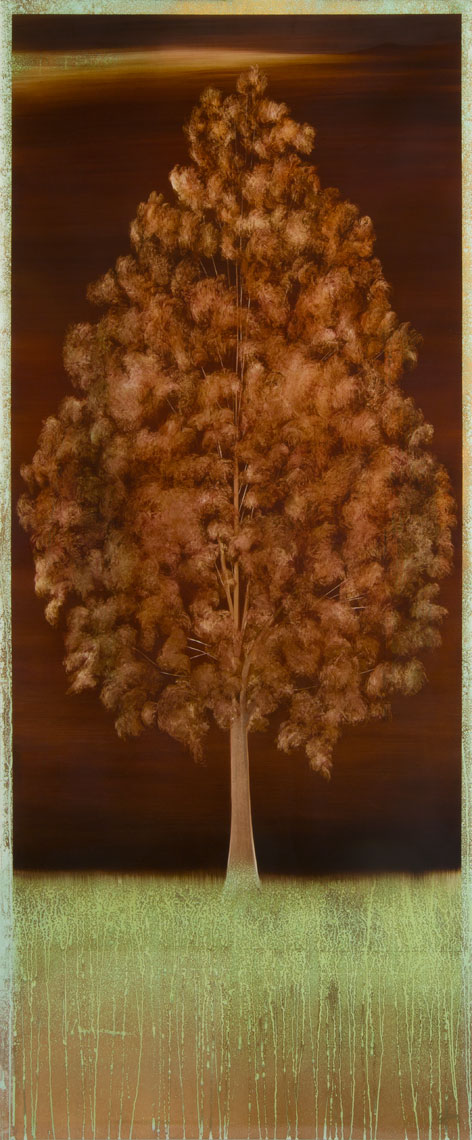 "#16174   "" UNO ""   72 x 36 inches, Oil over copper leaf with resin on panel"