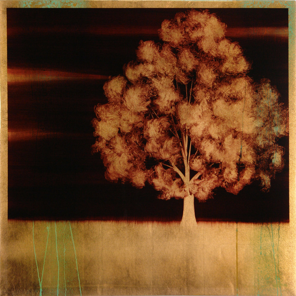 "#16112   "" UNO ""   36 x 36 inches, Oil over copper leaf with resin on panel"