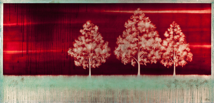 "#13098   "" Tres ""   45 x 95 inches, Oil over copper leaf with resin on panel"