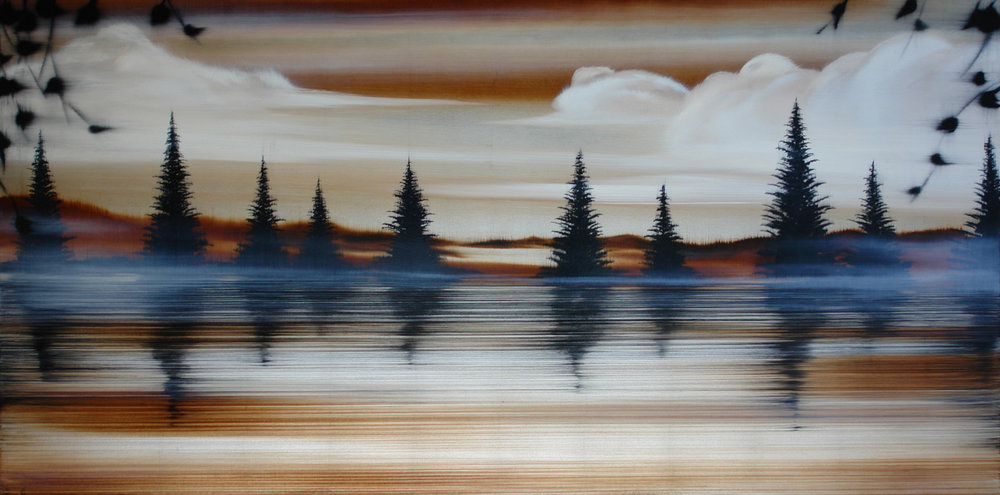 "#16110   "" By the Lake ""   36 x 72 inches, Oil over silver leaf on canvas"